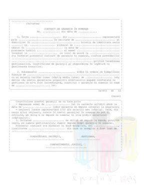 Contract de garantie in numerar