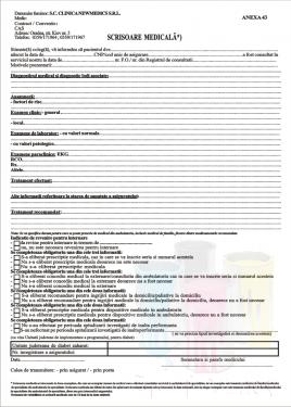 Scrisoare medicala Anexa 43 2019