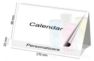 Calendar de birou 9.9x21cm 2021 personalizat 12file