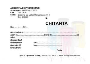 Chitantier A6 2 exemplare asociatie de locatari, asociatii de proprietari