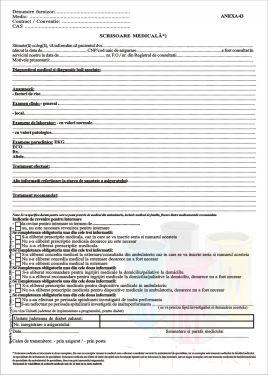ScrisoareScrisori medicala Anexa 43 simpla 2019