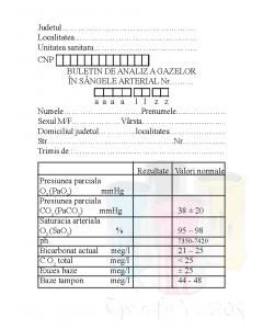 Buletin de analize medicale a gazelor in sangele arterial